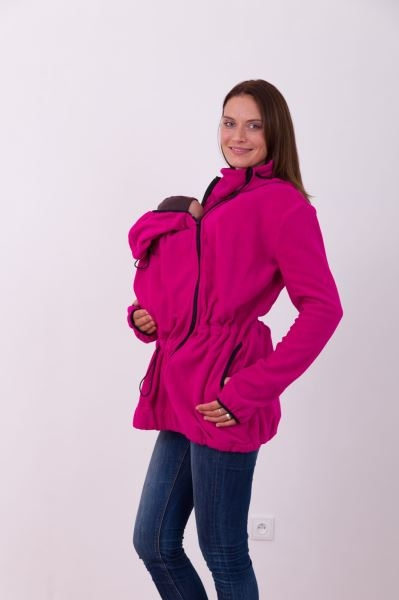Nosící fleece mikina s kapucí - přední/zadní nošení - tm. růžová