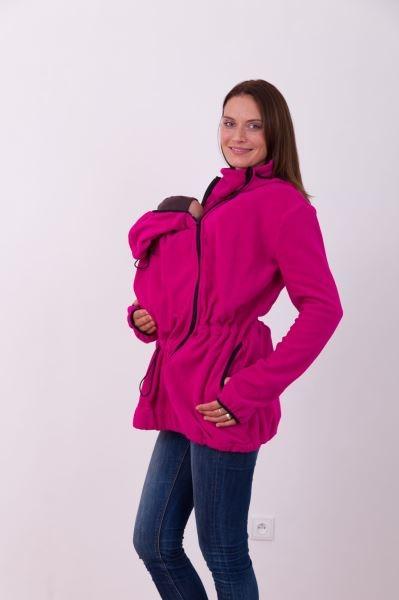 Nosící fleece mikina s kapucí - přední/zadní nošení - tm. růžová, vel. M/L