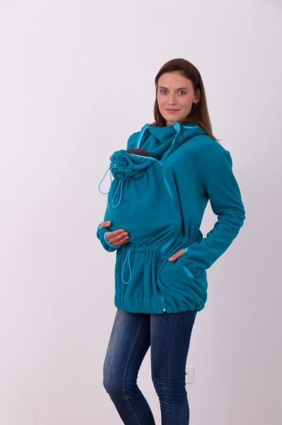 Nosící fleece mikina s kapucí - přední/zadní nošení - petrolejová