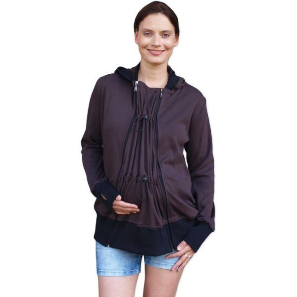 JOŽÁNEK Těhotenská/nosící bavlněná mikina - čokoládová