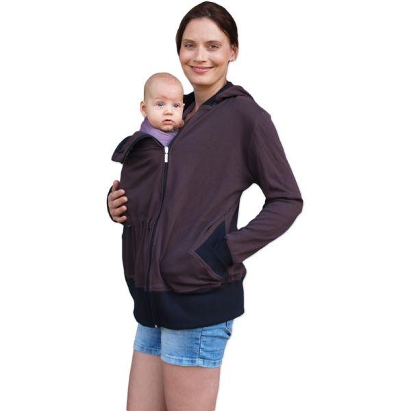 Těhotenská/nosící bavlněná mikina - čokoládová, vel. M/L