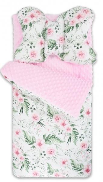 Baby Nellys Univerzální fusák, spacáček minky s polštářkem Flowers - růžový/sv. růžový