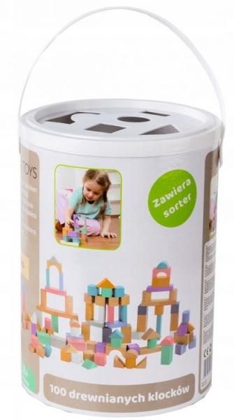 Dřevěné kostky v kyblíku ECO TOYS 100 ks - pastelové barvy