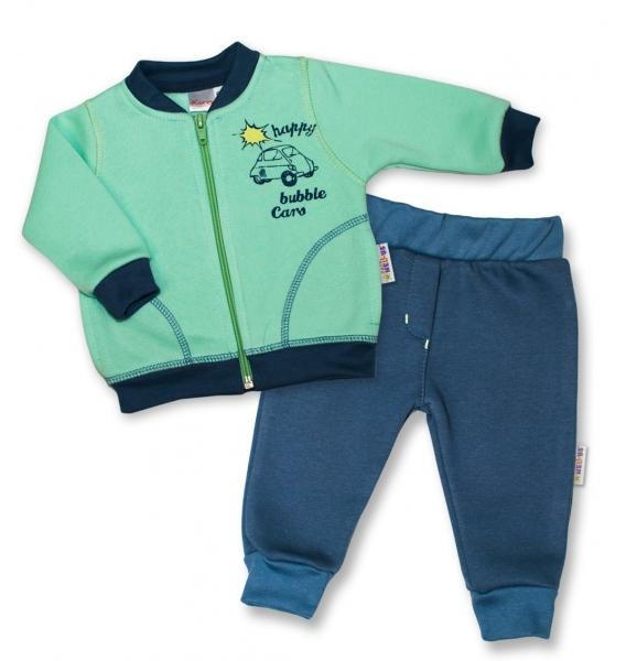 K-Baby Tepláková souprava Autíčko vel. 74 - mátová/jeans