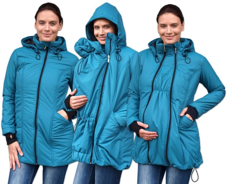 Zimní bunda pro těhotné/nosící - vyteplená, petrolejová, vel. L/XL