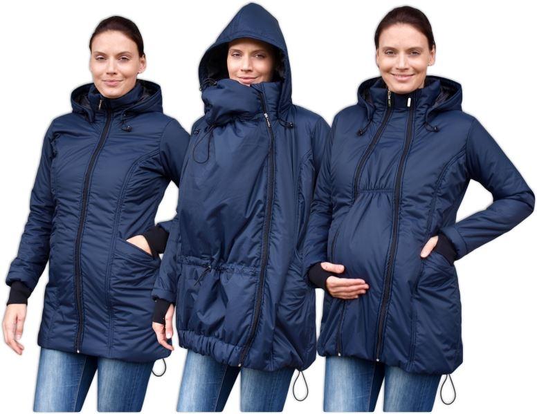 JOŽÁNEK Zimní bunda pro těhotné/nosící - vyteplená, tm. modrá, vel. L/XL