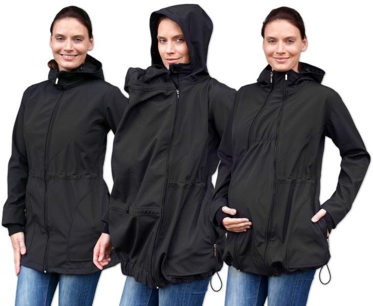 JOŽÁNEK Bunda pro nosící, těhotné - softshellová (přední nošení), černá