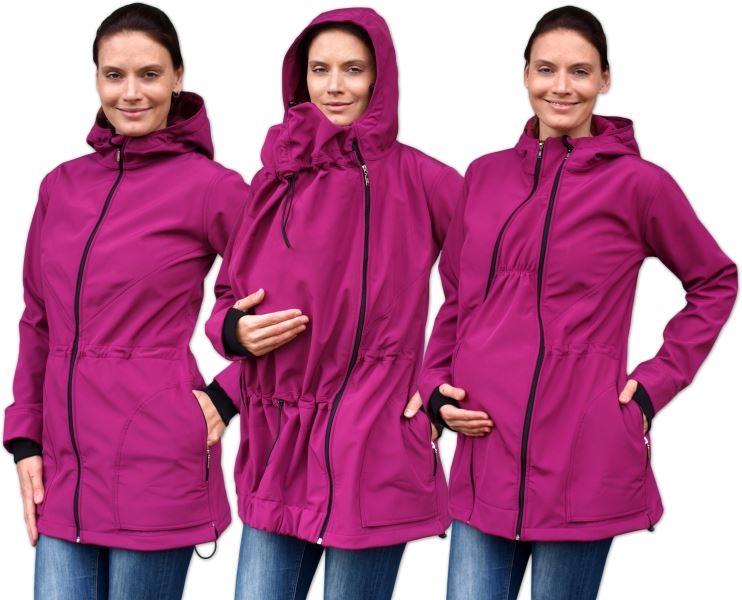 Bunda pro nosící, těhotné - softshellová (přední nošení), fuchsiová, vel. M/L, Velikost: M/L