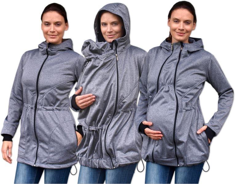 JOŽÁNEK Bunda pro nosící, těhotné - softshellová (přední nošení), šedý melír, vel. M/L
