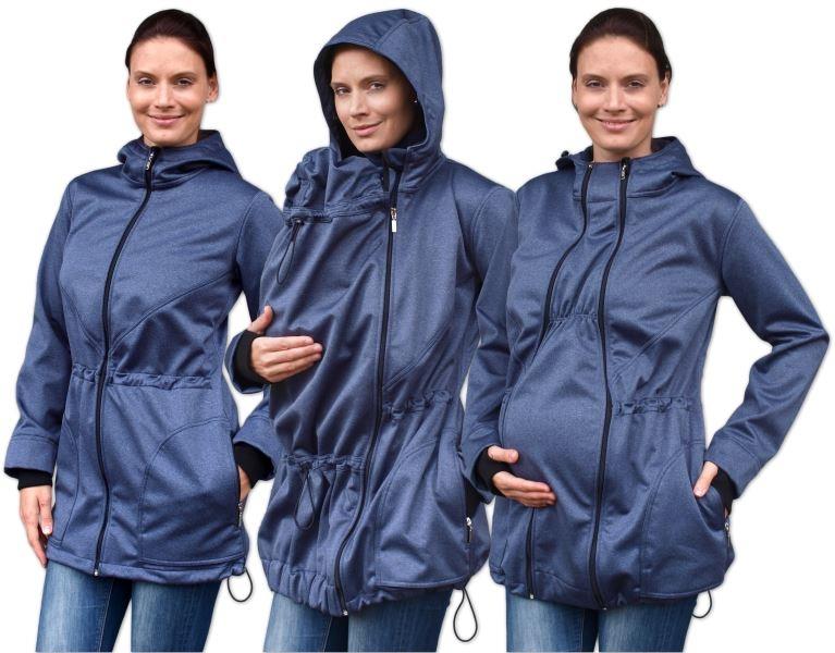 Bunda pro nosící, těhotné - softshellová (přední nošení), tm. modrý melír, vel. L/XL