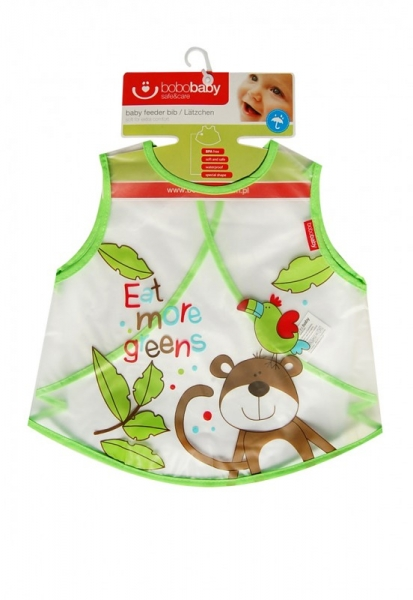 BOBO BABY Dětská zástěrka, bryndák Opička - zelená