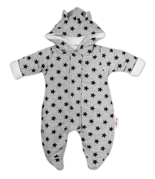 Kombinézka s kapucí a oušky Hvězdičky Baby Nellys ® - šedá/tm. modrá, Velikost: 56 (1-2m)