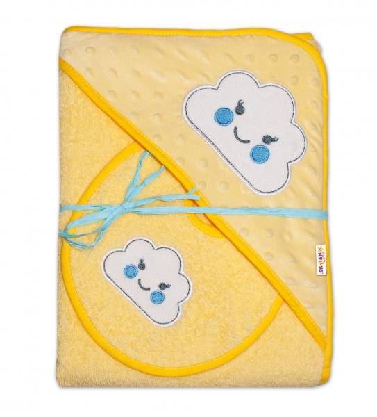 Froté osuška s kapucí  Baby Nellys® + bryndáček - Mráček žlutá