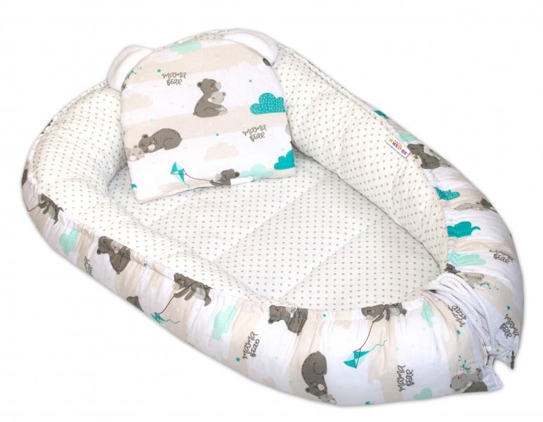 Baby Nellys Oboustranné hnízdečko, kokon  60x90cm - Medvídek puntíky - mátová/bílá