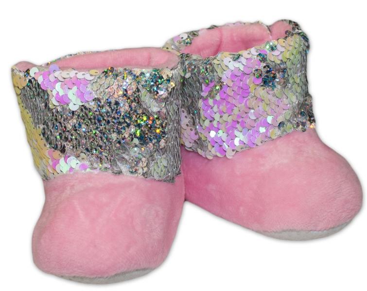 Zimní botičky/capáčky s flitry YO! - sv.  růžové