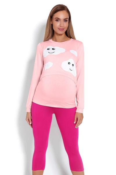 Be MaaMaa Těhotenské, kojící pyžamo 3/4 mráčky - růžové
