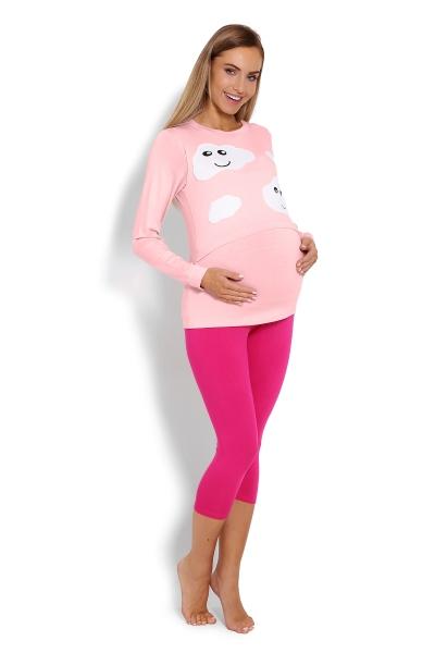 Be MaaMaa Těhotenské, kojící pyžamo 3/4 mráčky - růžové, vel. XXL