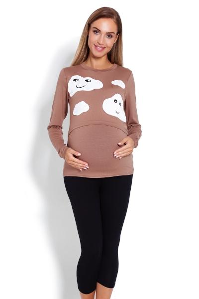 Be MaaMaa Těhotenské, kojící pyžamo 3/4 mráčky - cappuccino, vel. L/XL