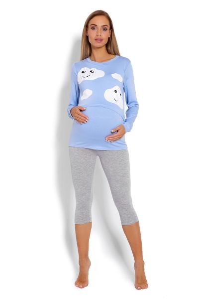 Be MaaMaa Těhotenské, kojící pyžamo 3/4 mráčky - modré, vel. L/XL