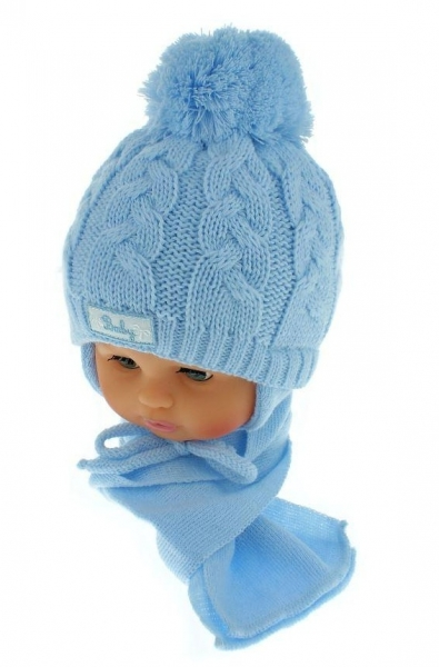 Zimní pletená čepička s šálou Baby Bear - modrá s bambulkou, Velikost: 34/36 čepičky obvod