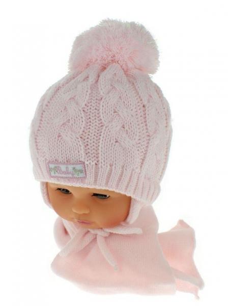 Zimní pletená čepička s šálou Baby Bear - růžová s bambulkou