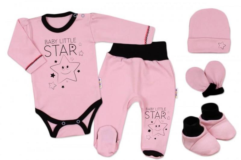 5-ti dílná soupravička do porodnice Baby Little Star - růžová, Velikost: 56 (1-2m)