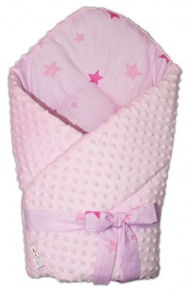 Baby Nellys oboustranná zavinovačka na zavázov. 75x75cm minky Baby Stars, sv. růžová,K19