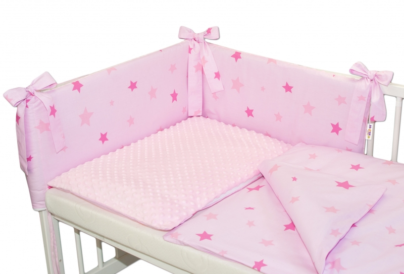 3-dílná sada mantinel s povlečením Minky Baby Stars růžové - sv. růžová