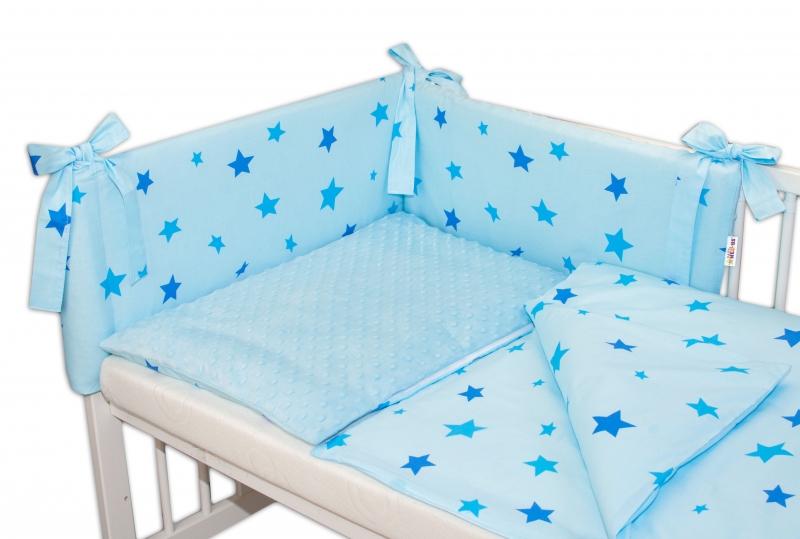 3-dílná sada mantinel s povlečením Minky Baby Stars modré - sv. modrá