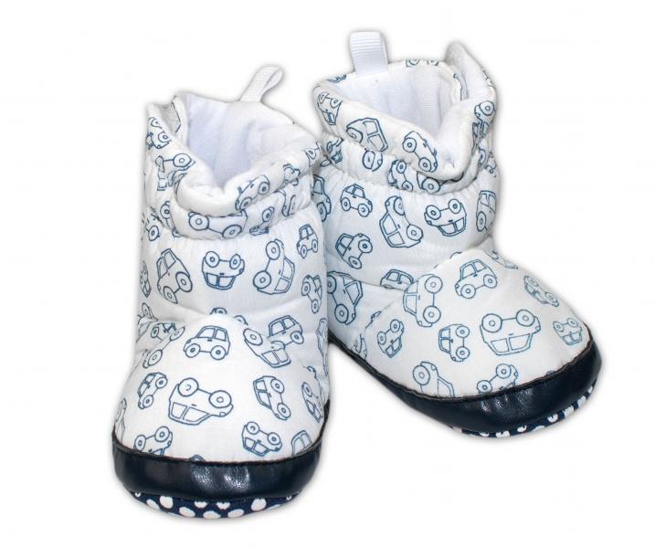 Zimní capačky/botičky YO! - Autíčka bílé, Velikost: 0/6 měsíců