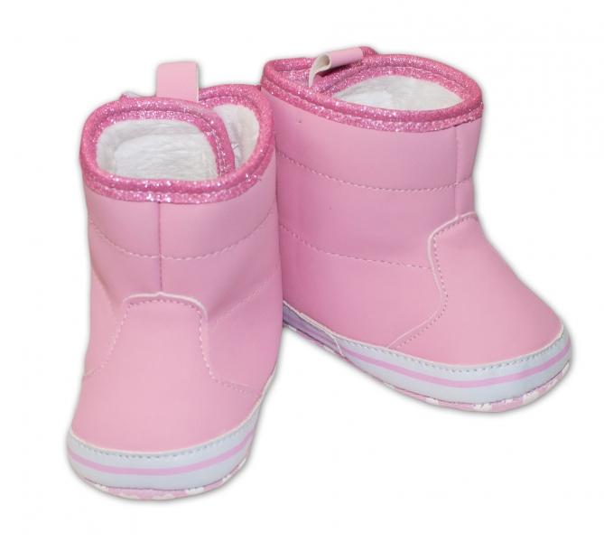 Zimní capačky/kozáčky s mašličkou YO! - růžové, Velikost: 0/6 měsíců