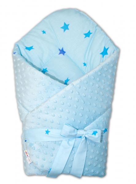 Baby Nellys oboustranná zavinovačka na zavázování 75x75cm minky Baby Stars, sv. modrá, K19