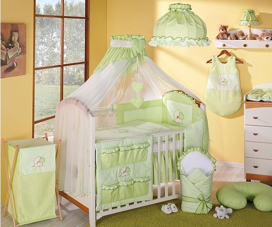 Luxusní mega set s moskytiérou - LOVE zelený