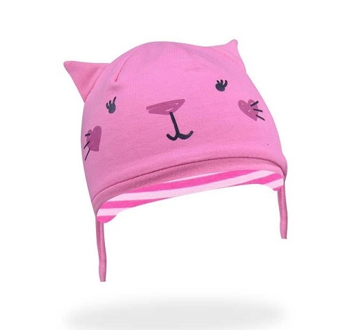 Bavlněná čepička YO ! Hela kočička - růžová - se zavazováním, Velikost: 36/38 čepičky obvod