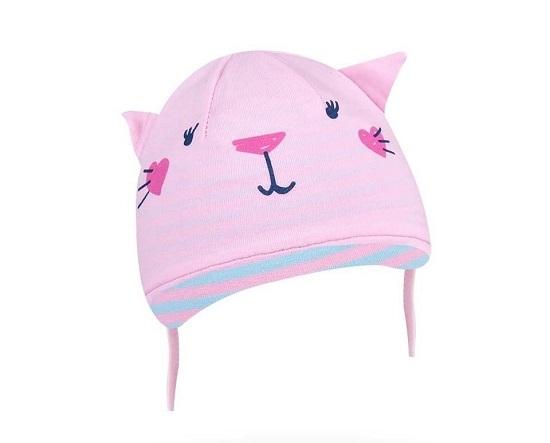 Bavlněná čepička YO ! Hela kočička - sv. růžová - se zavazováním, Velikost: 36/38 čepičky obvod
