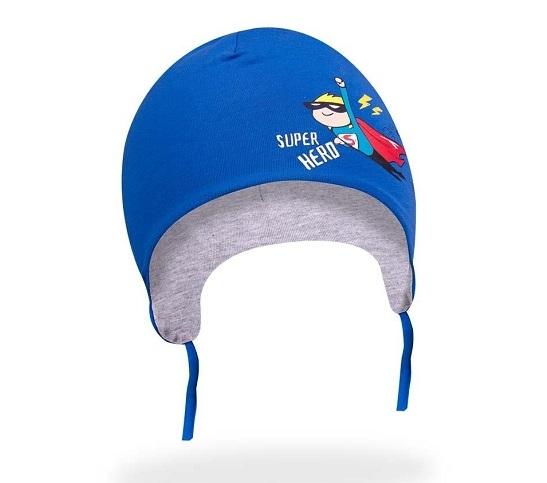 Bavlněná čepička YO ! Small Hero - modrá - se zavazováním, Velikost: 42/44 čepičky obvod