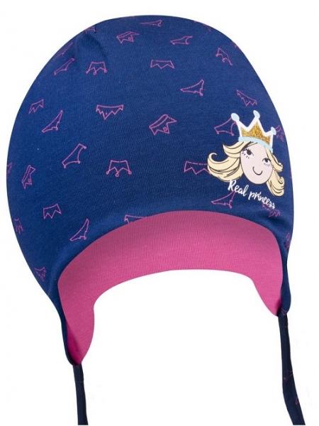 Bavlněná čepička YO ! Little princess - granátová - se zavazováním, Velikost: 38/40 čepičky obvod