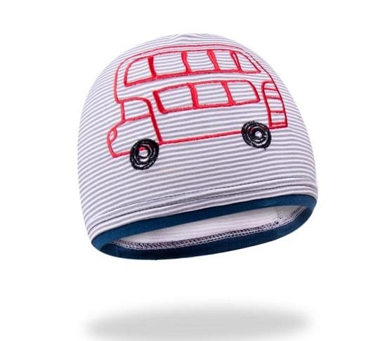 Bavlněná čepička YO ! School bus - šedo/granátová, Velikost: 48/50 čepičky obvod