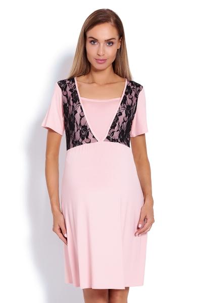 Těhotenská, kojící noční košile s krajkou, kr. rukáv - růžová, vel. L/XL