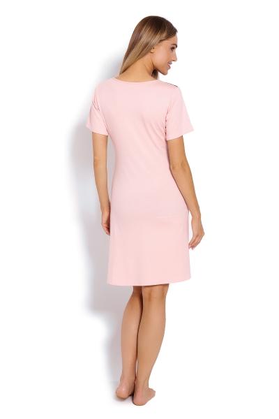 Be MaaMaa Těhotenská, kojící noční košile s krajkou, kr. rukáv - růžová, vel. XXL