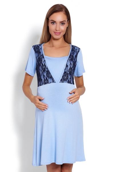 Těhotenská, kojící noční košile s krajkou, kr. rukáv -  modrá, Velikost: S/M
