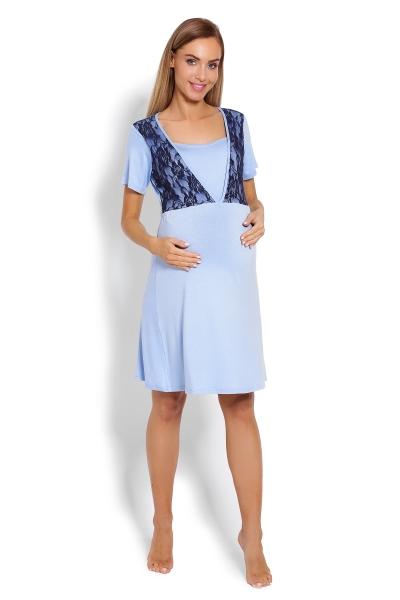 Be MaaMaa Těhotenská, kojící noční košile s krajkou, kr. rukáv -  modrá, vel. L/XL
