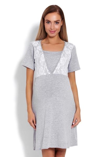 Be MaaMaa Těhotenská, kojící noční košile s krajkou, kr. rukáv -  šedá, vel. L/XL