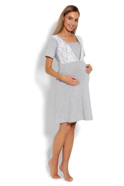 Be MaaMaa Těhotenská, kojící noční košile s krajkou, kr. rukáv -  šedá, vel. XXL