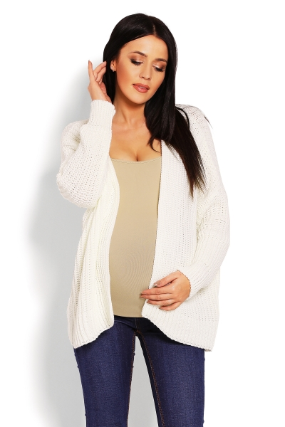 Těhotenský teploučký kardigan - krémový