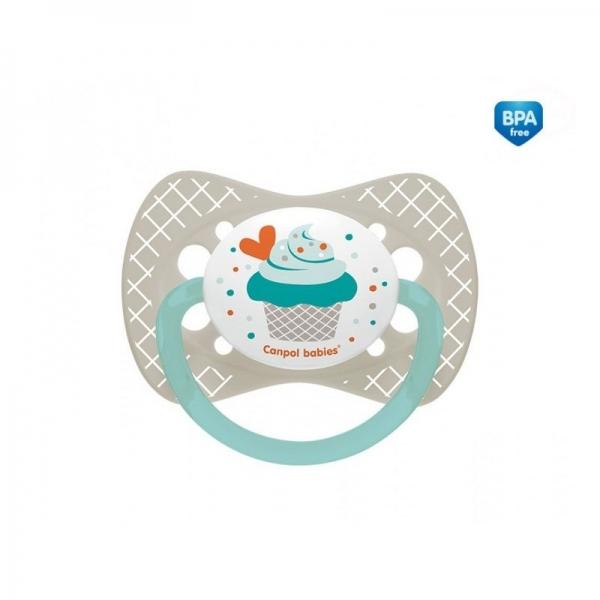 Canpol babies Dudlík symetrický Cupcake 18m+ C - šedý