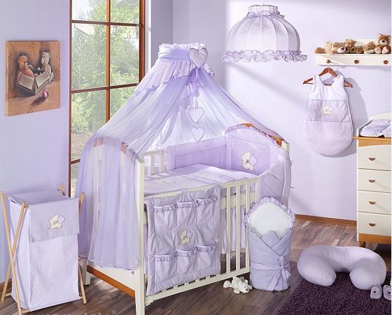 Luxusní mega set s moskytiérou - LOVE fialový