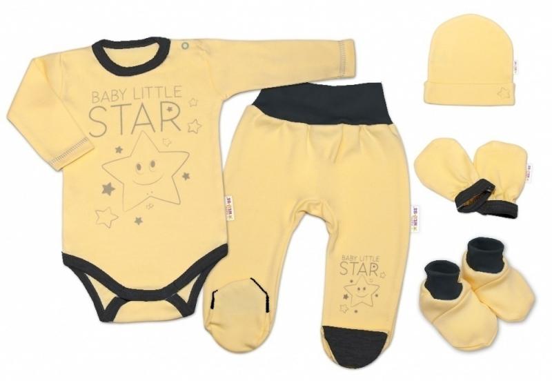 Baby Nellys 5-ti dílná soupravička do porodnice Baby Little Star - žlutá, vel. 62, K19