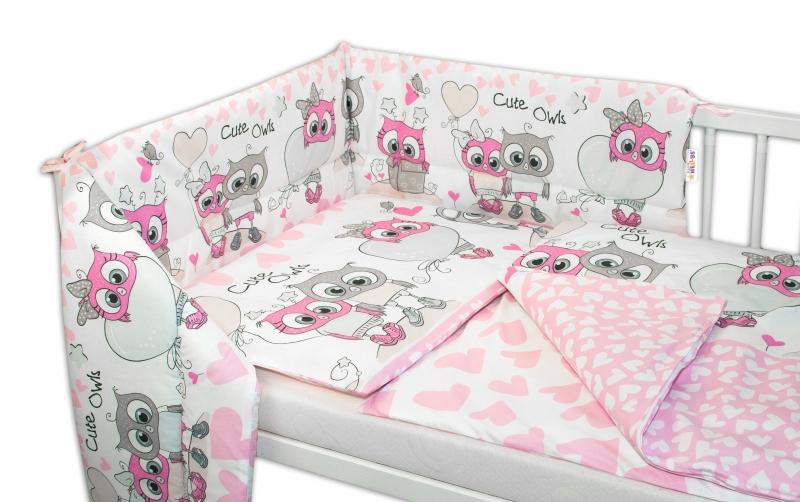 3-dílná sada mantinel s povlečením Cute Owls - růžová