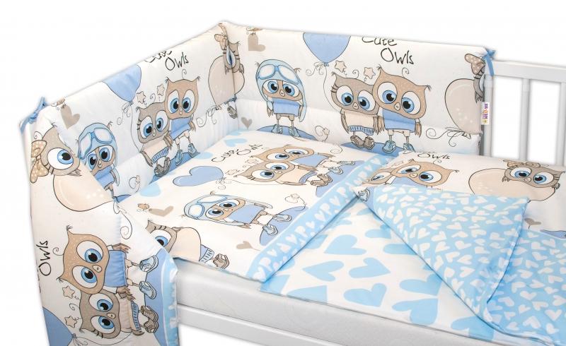 Baby Nellys 3-dílná sada mantinel s povlečením 135x100, Cute Owls - modrá